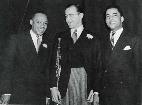 "Lionel Leo Hampton(left), Benjamin David ""Benny Goodman""(center), and and Theodore Shaw ""Teddy"" Wilson (right)."