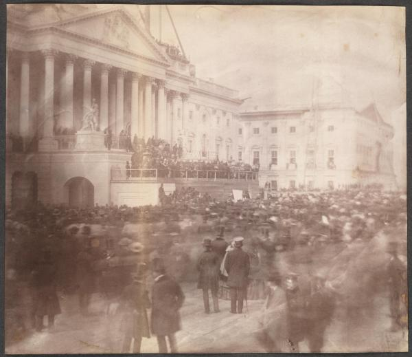 This photograph–the first of a presidential inauguration at the Capitol–shows the large crowd that attended James Buchanan's inauguration,
