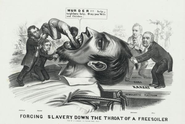 "In this editorial cartoon from the 1856 presidential election, James Buchanan–in the light suit–helps hold down the head of a ""Free Soiler"" while Illinois Senator Stephen A. Douglas and President Franklin Pierce shove an African-American slave down his throat."
