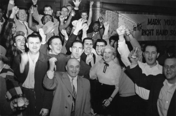 Local 506 Members celebrate UE victory over IUE at Union Hall, United Electrical Workers, Election Victory in Erie, Pa.,  December 7, 1954