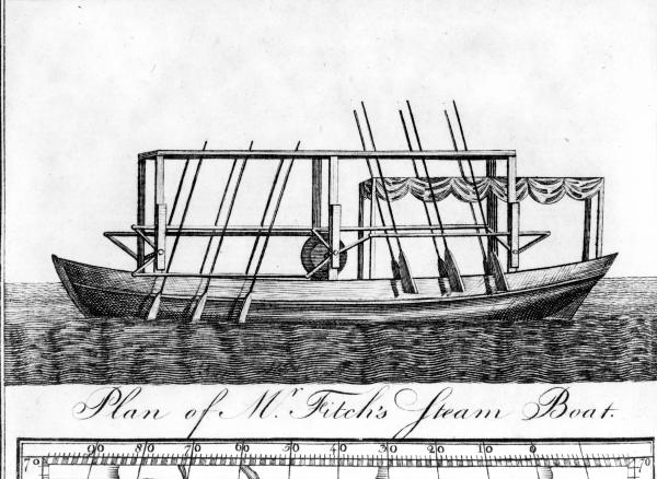 Illustration of John Fitch's design for a ferry boat with steam-driven oars, <i>Columbian Magazine</i>, December 8, 1786.