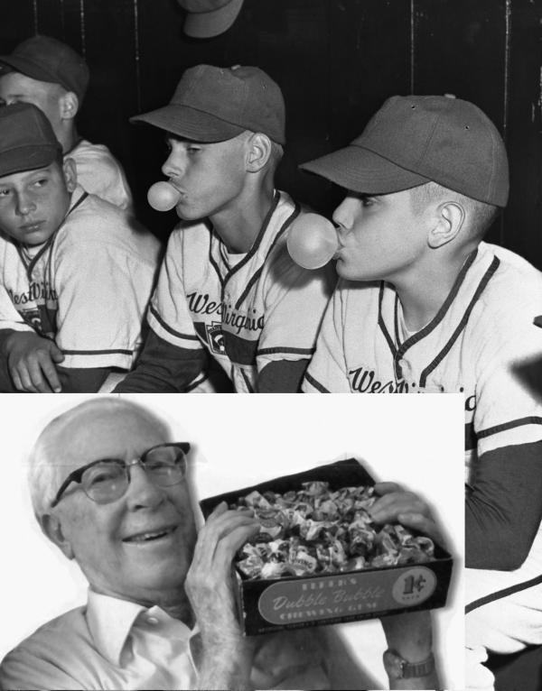 Inset bottom left: Accountant Walter Diemer holding bubble gum box. Little league players blow bubbles.