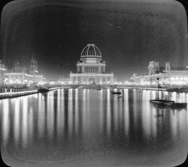 Electric lights at the World Columbian Exposition at night