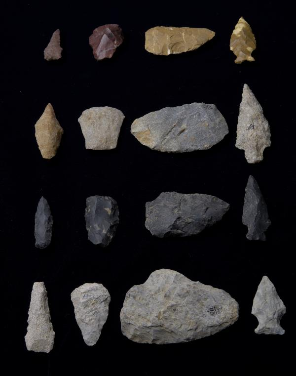 Native American stone drills, scrapers, knives, and projectile points found in Chester County, PA.