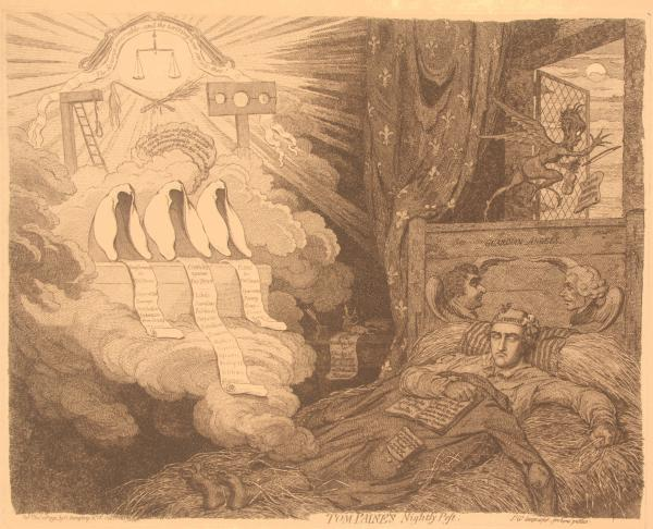 "In this furious British political cartoon from 1792, three nightmare judges loom over three scrolls documenting the Charges against, Pleas for, and Banishments for a sleeping Paine, wearing a ""Libertas"" night cap. Behind judges are gallows and stocks"