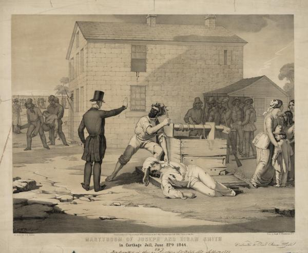 Martyrdom of Joseph and Hiram Smith in Carthage jail, June 27th, 1844. Lithograph by Nagel & Weingaertner, 1851.