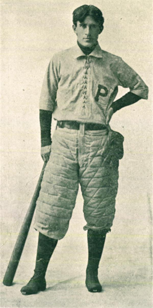 Full-length portrait in University of Pennsylvania baseball uniform