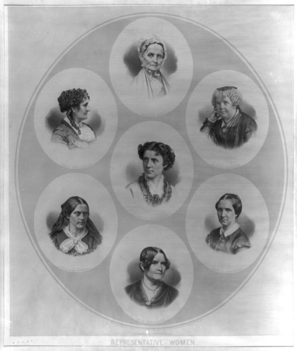 Head-and-shoulders portraits of seven prominent figures of the suffrage and women's rights movement
