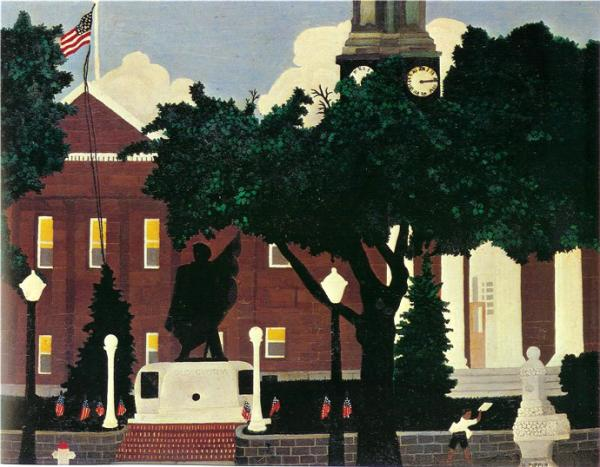 A painting of a brown brick courthouse with a clock tower. Black statue with white base.