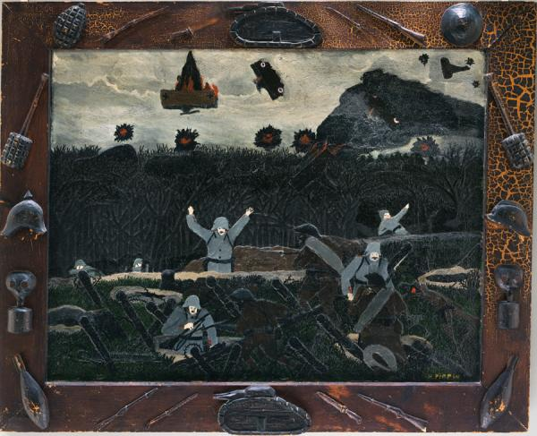 A dark painting of jubilant soldiers framed in a wooden frame with symbols of war attached