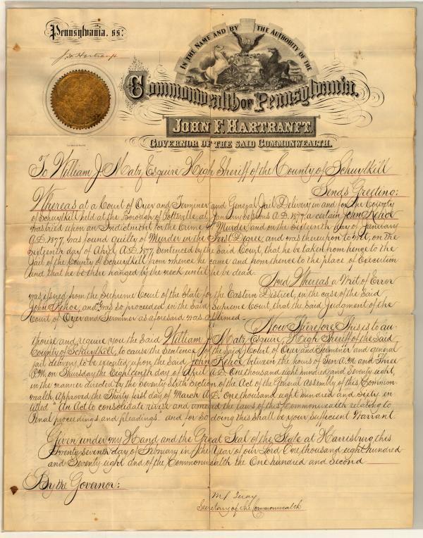Death Warrant of John Kehoe, February 27, 1878.