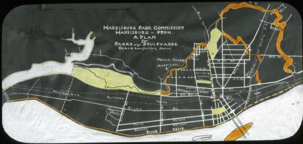 "Glass Slide, Harrisburg Park Commission, ""A Plan for Parks and Boulevards,– circa 1900."