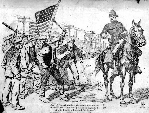 Illustration of a policeman astride a horse and rioters holding sticks and an American flag.