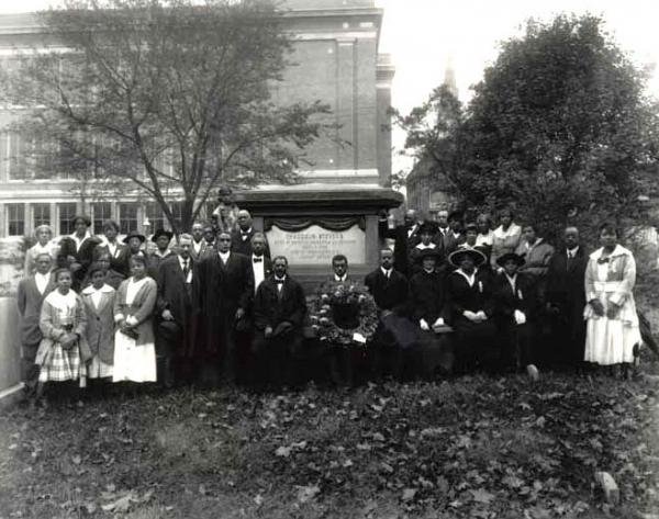 Negro Civic Congress poses in front of the Thaddeus Steven's monument in Lancaster, Pa
