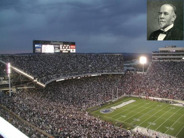 Stadium filled with spectators. Inset, top right, head shot of James Beaver