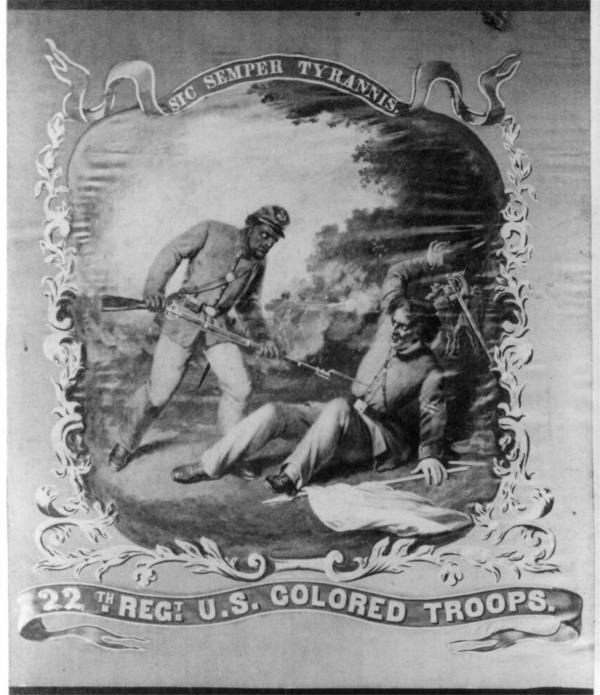 Reproduction of  Regimental flag depicting African- American soldier bayoneting a fallen Confederate soldier.