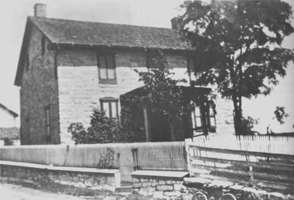 Exterior, black and white photo