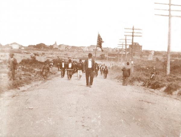 Mine workers marching to their slaughter outside of Lattimer, PA, September 10, 1897.