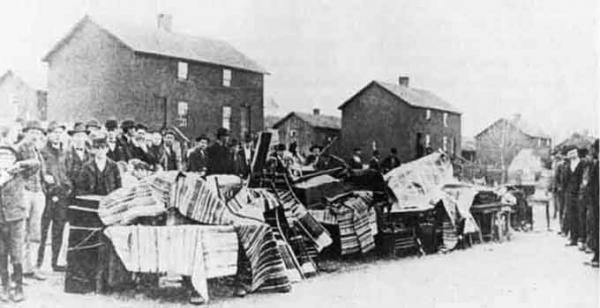 Because mining companies owned their employees' housing, striking workers risked their homes as well as their jobs. Shown here is an eviction during the Anthracite Coal Strike of 1902.