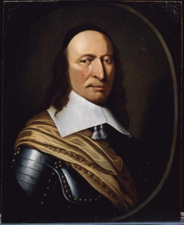 Oil on wood. Dressed in armor,  shown head and shoulders