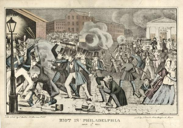 Lithograph of the Southwark Bible riot scene