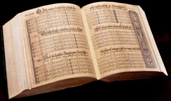 A color image of an open songbook