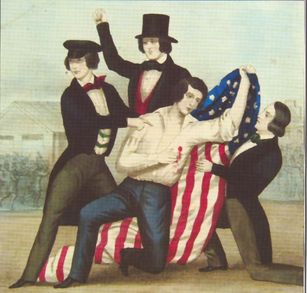 Three men supporting kneeling man holding flag. Death of George Shifler, in Kensington. Born Jan. 24, 1825, Murdered May 6, 1844. J.L. Magee, lith., Published by Wm. Smith, 706 So. Third St., Phila. Shifler, an 18-year-old apprentice leather worker, was the first to fall in the Kensington Bible Riots of 1844 and instantly became a nativist martyr.