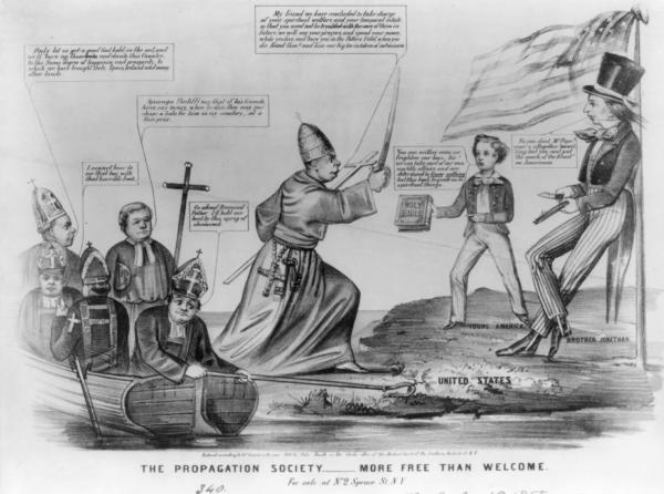 """An anti-Catholic cartoon, reflecting the nativist perception of the threat posed by the Roman Church's influence in the United States through Irish immigration and Catholic education. The """"Propagation Society"""" is probably the Catholic proselytizing organization, the Society for the Propagation of the Faith. At right, on a shore marked """"United States,"""" Brother Jonathan, whittling, leans against a flagpole flying the stars and stripes. """"Young America,"""" a boy in a short coat and striped trousers, stands at left, holding out a Bible toward Pope Pius IX, who steps ashore from a boat at left. The latter holds aloft a sword in one hand and a cross in the other. Still in the boat are five bishops. One holds the boat to the shore with a crozier hooked round a shamrock plant. Pope: """"My friend we have concluded to take charge of your spiritual welfare, and your temporal estate, so that you need not be troubled with the care of them in future; we will say your prayers and spend your money, while you live, and bury you in the Potters Field, when you die. Kneel then! and kiss our big toe in token of submission."""" Brother Jonathan: """"No you dont, Mr. Pope! your'e altogether too willing; but you cant put 'the mark of the Beast' on Americans."""" Young America: """"You can neither coax, nor frighten our boys, Sir! we can take care of our own worldly affairs, and are determind to """"Know nothing"""" but this book, to guide us in spiritual things."""" (""""Know nothing"""" is a """"double entendre,"""" alluding also to the nativist political party of the same name.) First bishop: """"I cannot bear to see that boy, with that horrible book."""" Second bishop: """"Only let us get a good foot hold on the soil, and we'll burn up those Books and elevate this Country to the Same degree of happiness and prosperity, to which we have brought Italy, Spain, Ireland and many other lands."""" Third bishop: """"Sovereign Pontiff! say that if his friends, have any money, when he dies; they may purchase a hole, for him in my cemetery, at a fai"""