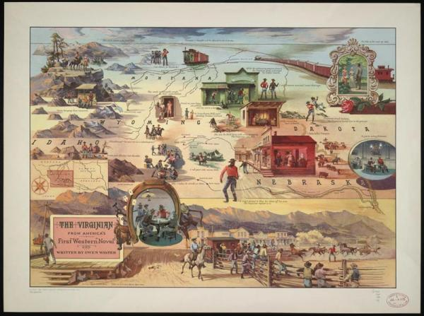 "Color offset lithograph of a literary map highlighting scenes from the classic novel, such as the card game with Trampas during which the Virginian delivers his famous line ""When you call me that, smile."" An inset map shows the states where the events in the novel took place, with Wyoming, the primary locale, highlighted."