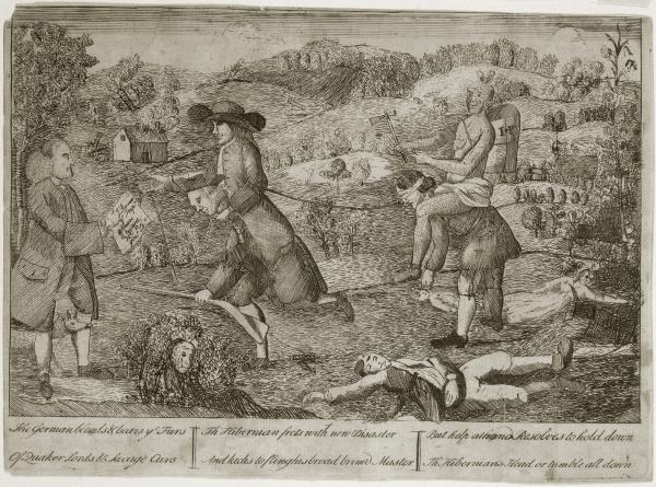 """This cartoon, circulated after the 1763 Conestoga massacre, criticizes the Quakers for their support of Native Americans at the expense of German and Scots-Irish backcountry settlers. Here, a """"broad brim'd"""" Quaker and Native American each ride as a burden on the backs of """"Hibernians."""""""