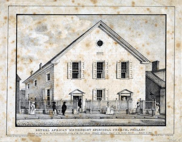 An etching of the AME Church, which is surrounded by a fence containing two open gates. People are walking on the sidewalk in front of the building.