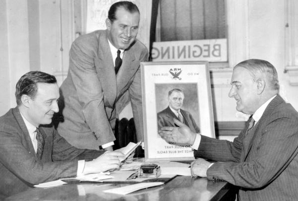 Jack Kelly (standing), with gubernatorial candidate George Earle (left), and senatorial candidate Joseph Guffy