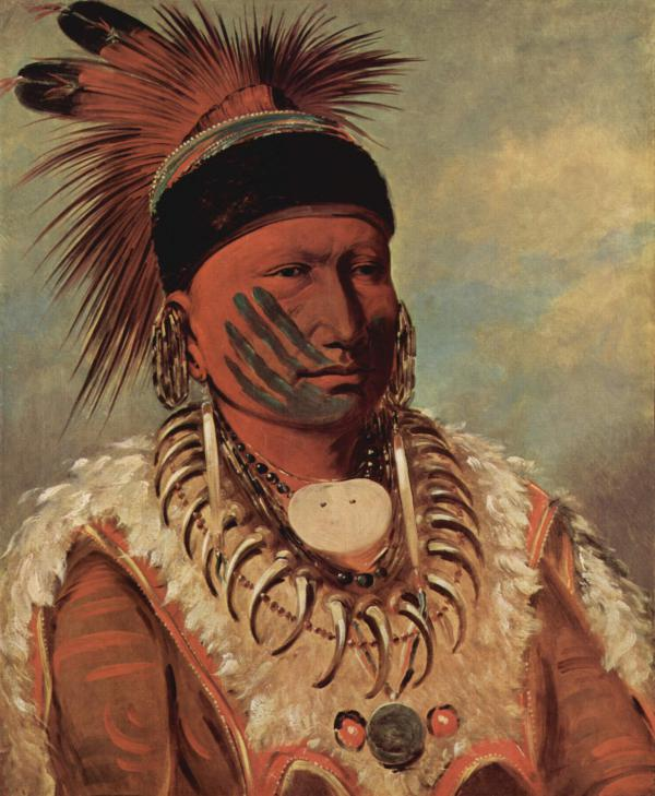 Red dominates this oil on canvas of a chieftain, wearing a cloth necklace, paint on face, and feathers on top of head.
