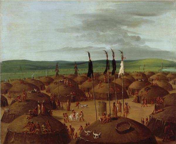 An oil on canvas Bird's eye view of the Mandan Indian Village consisting of round indian huts and villagers.