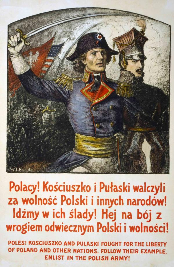 Poster showing Kosciuszko and Pulaski, and the Polish flag.