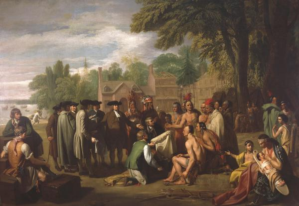 A red, white, and blue skyline is the setting for the oil on canvas painting of William Penn offering gifts to the Native Americans.