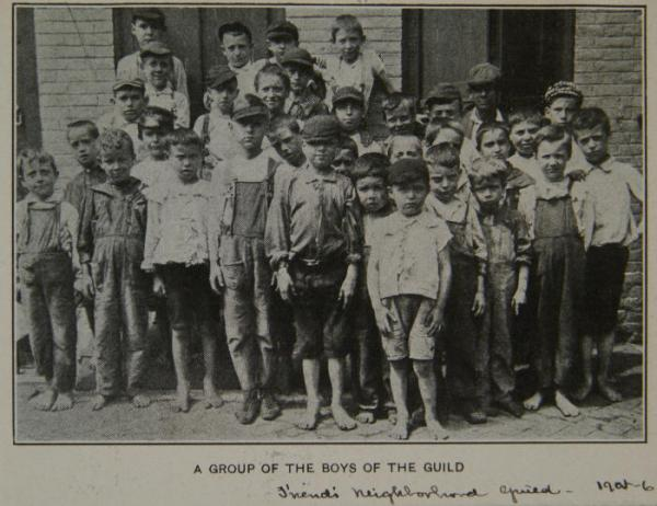 Boys outside Friends Neighborhood Guild, 1905-06