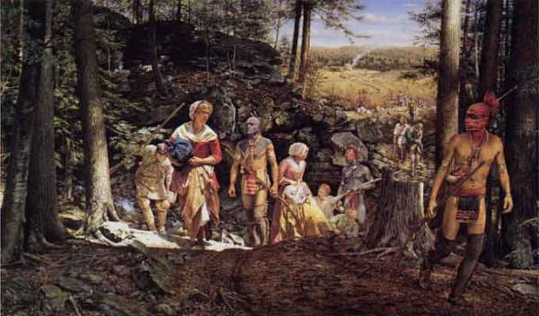 This painting by Robert Griffing depicts the kidnapping of colonist Mary Jemison by Shawnee Indians and French raiders.