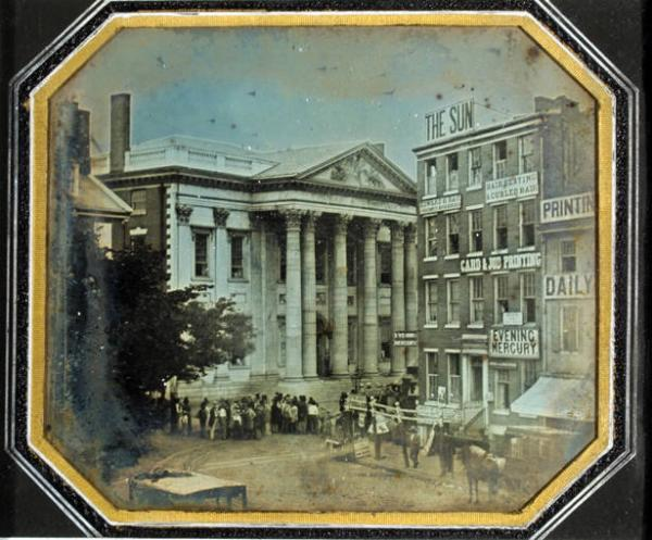 "William and Frederick Langenheim, Girard Bank. Daguerreotype, May 1844. Gift of John A. McAllister, 1896. This view of militia gathering in the wake of an anti-Catholic riot is Philadelphia's first ""news""photograph. This view of militia gathering in the wake of an anti-Catholic riot is Philadelphia's first ""news"" photograph."