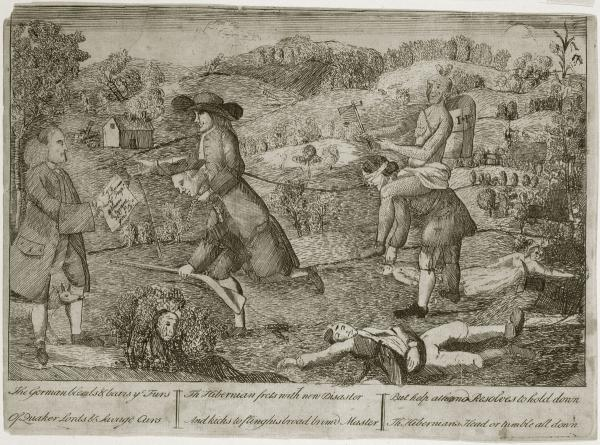 "This cartoon, circulated after the 1763 Conestoga massacre, criticizes the Quakers for their support of Native Americans at the expense of German and Scots-Irish back country settlers. Here, a ""broad brim'd"" Quaker and Native American each ride as a burden on the backs of ""Hibernians."""