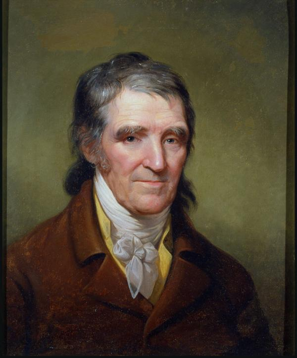 Oil on canvas of William Findley, with shoulder length, salt and pepper hair. He is wearing a dark suit and ascot.