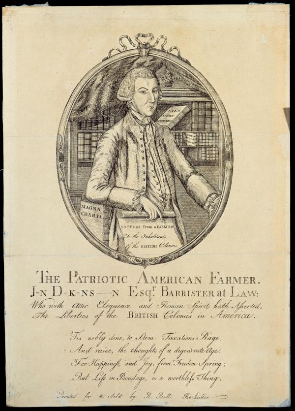 "John Dickinson, half-length portrait, standing, facing slightly right, right elbow resting on ""Magna Carta"" and in his hand he holds ""Farmer's letters""; oval within frame, text printed below."