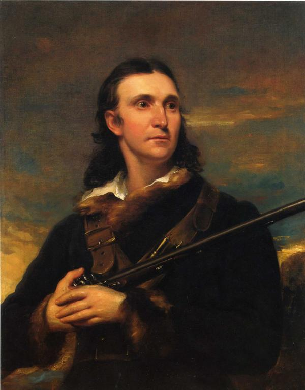 Oil on canvas of a man seated holding a rifle.