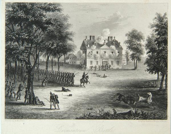 Depicting Chew House, Cliveden, being attacked