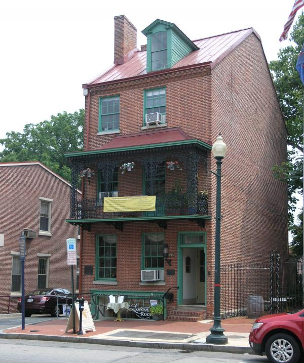 The brick Lincoln Building in West Chester, PA, where the first biography of Abraham Lincoln was published, in 1860.