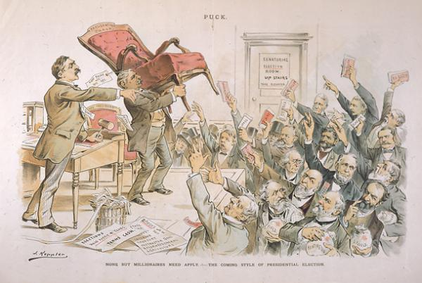 """Pennsylvania Senator Matthew Quay auctions off the empty chair of the 1892 presidential election to the highest bidder. """"Terms cash"""" reads one of the papers at his feet on the floor."""
