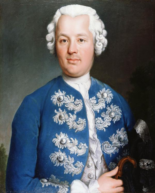 Oil on canvas of a man wearing a blue, embellished jacket and powdered wig.