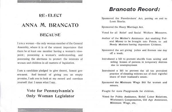 Second page of 1938 campaign brochure for State Representative Anna Brancato, listing her legislative accomplishments since 1933.