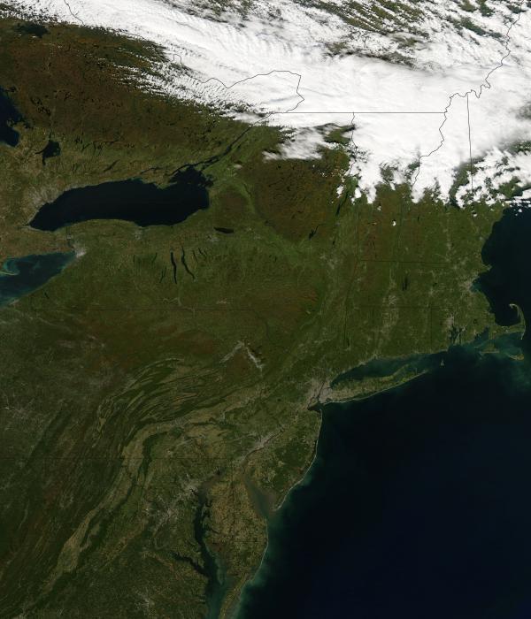 NASA satellite photograph of northeastern United States, including Pennsylvania, October 2008.