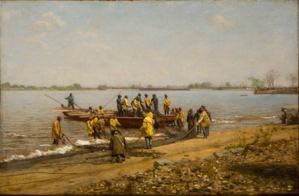 Thomas Eakins painting from 1881 of shad fishermen laying out their nets on the edge of the Delaware River outside of Gloucester, New Jersey.